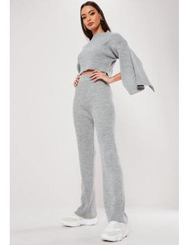 Grey Knitted Ribbed Co Ord Set by Missguided