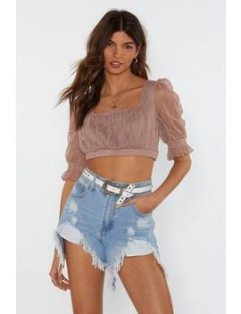 Puff Luck Lace Crop Top by Nasty Gal