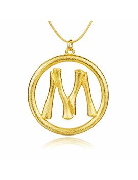 Miiboo Newest 26 Initial Letters Charm Bamboo Pendants Necklaces, Women Gold Plated Personalized Necklace With 22'' Chain, Great Gift For Women by Miiboo