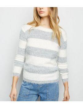 Blue Vanilla Grey Stripe Fluffy Jumper by New Look