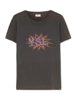 T Shirt Aus Baumwoll Jersey Mit Print Und Distressed Details by Saint Laurent