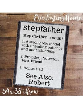 """<Span Data Inner Title="""""""">Personalized Stepfather Blanket, Gift For Stepdad, Father's Day Gift, Stepfather Throw, Stepfather Gift, Birthday Gift For Dad, Father Throw</Span> by Etsy"""