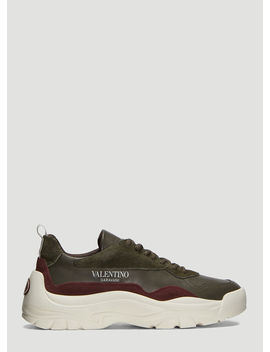 V Leather Bansi Sneakers In Khaki by Valentino