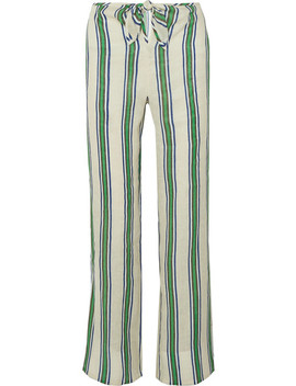 Awning Striped Linen Gauze Wide Leg Pants by Tory Burch