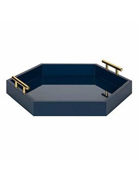 Kate And Laurel Lipton Decorative Tray 18 X 18 Navy Blue by Kate And Laurel