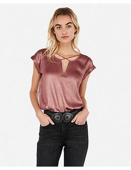 Petite Shimmery Cross Front Gramercy Tee by Express
