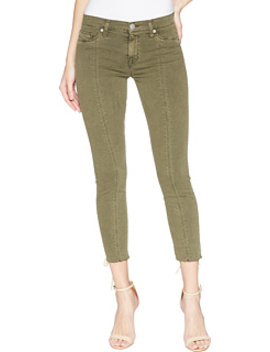 Nico Mid Rise Crop Lace Up Skinny Pants In Crushed Olive by Hudson
