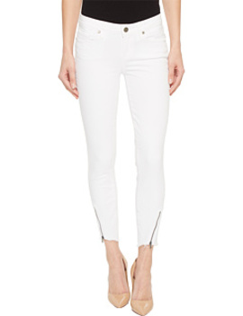 Verdugo Crop W/ Angled Zip And Raw Hem In Crisp White by Paige