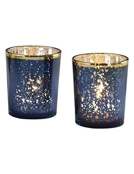 Kate Aspen Mercury Glass Tea Light Holder, Wedding/Party Decorations (Set Of 4), Navy/Gold by Kate Aspen
