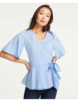 Flutter Sleeve Belted Wrap Top by Ann Taylor