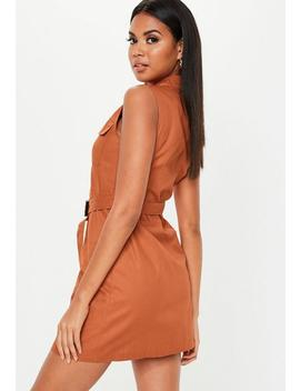 Rust Sleeveless Belted Blazer Dress by Missguided
