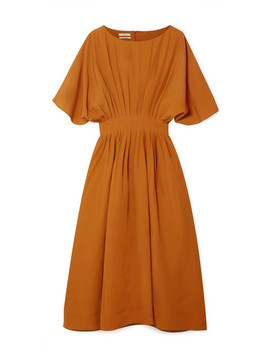 Pleated Broadcloth Midi Dress by Co