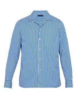 Gemma Cuban Collar Cotton Poplin Shirt by The Gigi