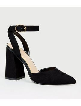 Black Suedette Flare Heel Court Shoes by New Look