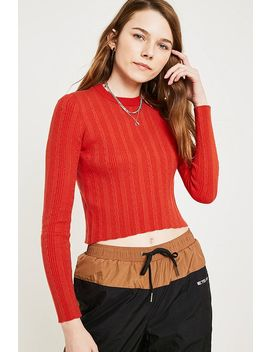 Uo   Pull Ras Du Cou Rouge En Mini Maille Torsadée by Urban Outfitters