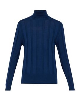 Ribbed Roll Neck Wool Sweater by King & Tuckfield