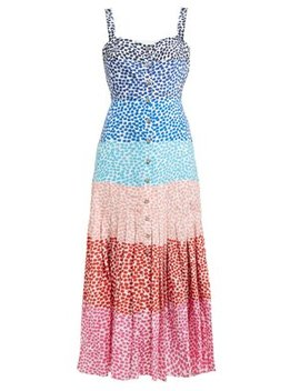 Karen Confetti Print Pleated Silk Midi Dress by Saloni