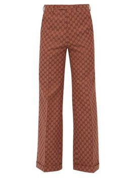 Gg Logo Jacquard Cotton Twill Wide Leg Trousers by Gucci