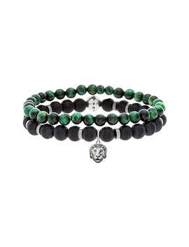 Beaded Malachite & Oxidized Charm Bracelets   Set Of 2 by Steve Madden