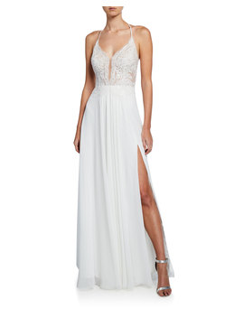 Lace Top Halter Gown With Lace Up Back & Thigh Slit by Faviana