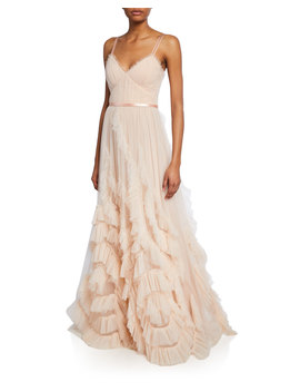 V Neck Sleeveless Textured Tulle Gown W/ Cascading Ruffles & Lace by Marchesa Notte