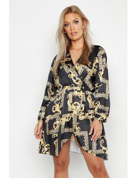 Plus Satin Chain Print Wrap Midi Dress by Boohoo