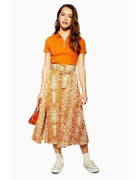 Petite Zebra Pleated Belt Midi Skirt by Topshop