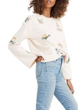 Botanical Embroidered Bell Sleeve Sweatshirt by Madewell