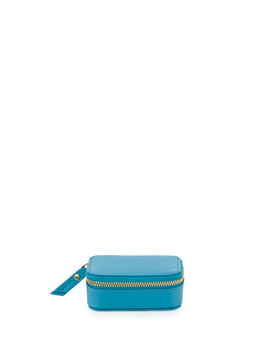 Small Saffiano Leather Pill Case, Turquoise by Neiman Marcus