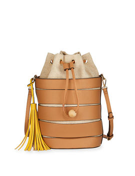 Breezy Mixed Media Drawstring Bucket Bag by Neiman Marcus
