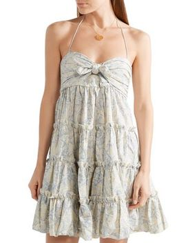 Helm Tiered Printed Linen And Cotton Blend Mini Dress by Zimmermann