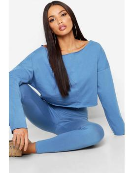 Off The Shoulder Cropped Cotton Sweater by Boohoo