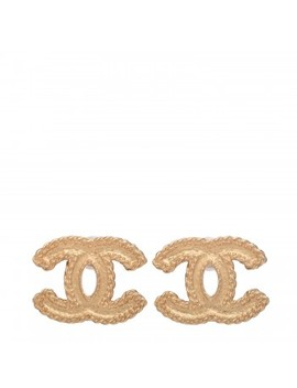 Chanel Cc Chain Earrings Matte Gold by Chanel
