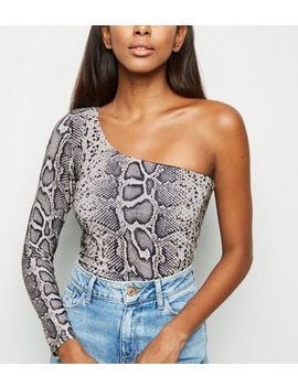 Brown Snake Print Glitter One Shoulder Top by New Look