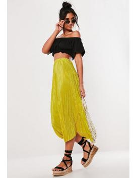 Yellow Plisse A Line Midi Skirt by Missguided