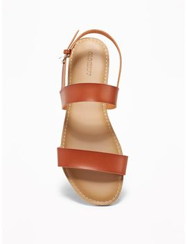 Faux Leather Double Strap Slingback Sandals For Women by Old Navy
