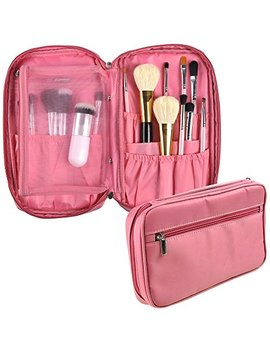 Professional Cosmetic Makeup Brush Organizer Makeup Artist Case With Belt Strap Holder Multifunctional Cosmetic Makeup Bag Handbag For Travel & Home (Pink) by Relavel