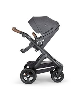 Stokke Trailz Bundle With Classic Wheels And Brown Leatherette Handle, Black Melange by Stokke