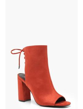 Lace Back Block Heel Shoe Boots by Boohoo