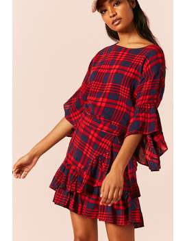 Plaid Ruffle Trim Mini Dress by Forever 21