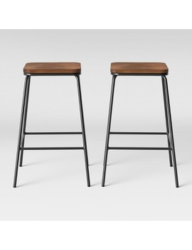 Set Of 2 Rhodes Metal/Wood Counter Stool Black   Project 62™ by Project 62