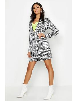 Tall Zebra Print Shirt Dress by Boohoo