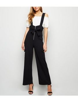 Black Zip Tie Front Utility Jumpsuit by New Look