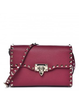 Valentino Pebbled Calfskin Medium Rockstud Shoulder Flap by Valentino