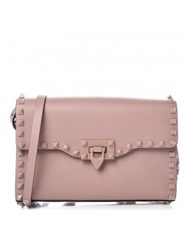 Valentino Vitello Medium Rockstud Shoulder Flap Bag Poudre by Valentino
