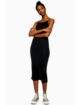 Black Ribbed Bodycon Dress by Topshop