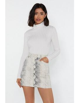 Snake Me To The Disco Denim Mini Skirt by Nasty Gal