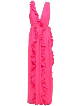 Ruffle Trimmed Poplin Maxi Dress by Msgm