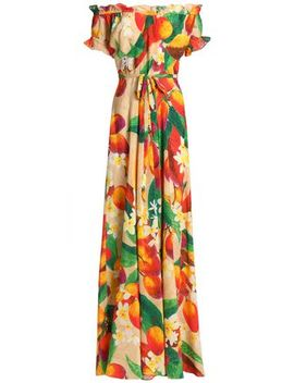 Carolina Off The Shoulder Floral Print Silk Maxi Dress by Isolda