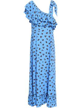 Roseburg One Shoulder Floral Print Washed Crepe Maxi Dress by Ganni